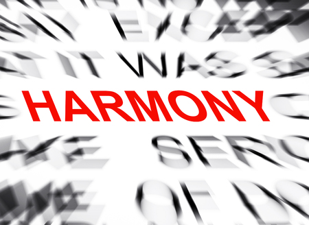 definition define: Blured text with focus on HARMONY
