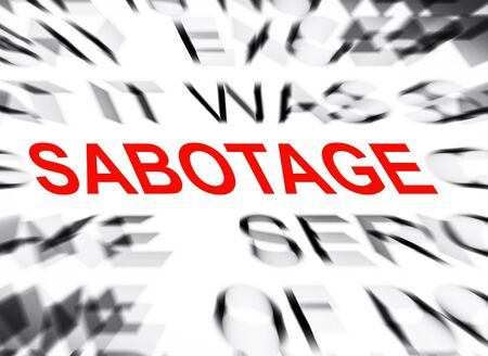 sabotage: Blured text with focus on SABOTAGE