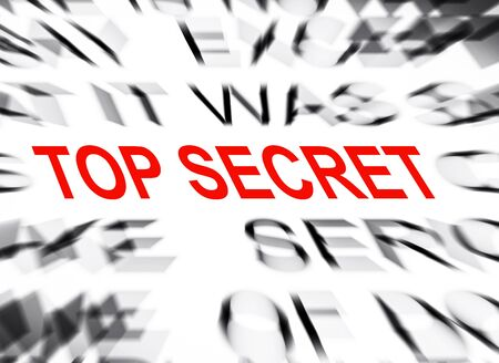 define: Blured text with focus on TOP SECRET Stock Photo