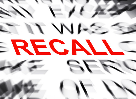 recall: Blured text with focus on RECALL Stock Photo