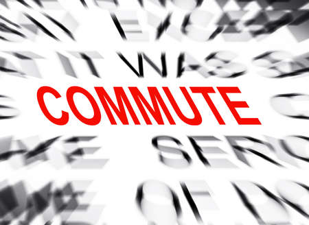 commute: Blured text with focus on COMMUTE Stock Photo