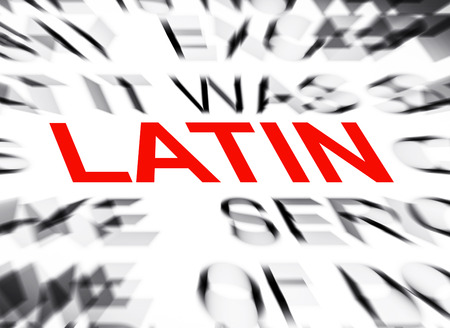 definition define: Blured text with focus on LATIN