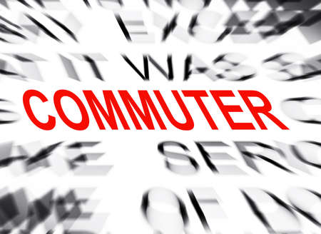commuter: Blured text with focus on COMMUTER Stock Photo