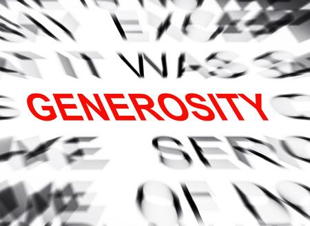generosity: Blured text with focus on GENEROSITY Stock Photo