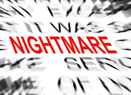 nightmare: Blured text with focus on NIGHTMARE Stock Photo