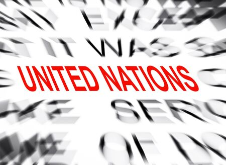 nations: Blured text with focus on UNITED NATIONS Stock Photo