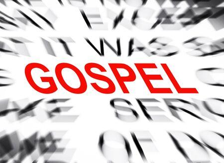 gospel: Blured text with focus on GOSPEL