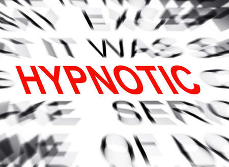 definition define: Blured text with focus on HYPNOTIC