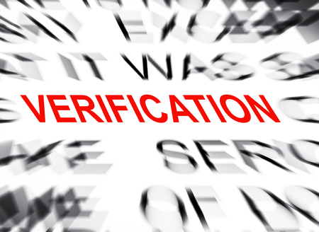 verification: Blured text with focus on VERIFICATION Stock Photo