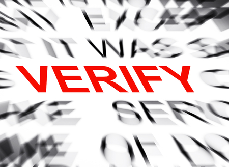 verify: Blured text with focus on VERIFY Stock Photo