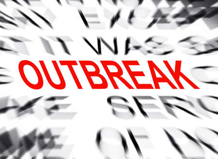 definition define: Blured text with focus on OUTBREAK