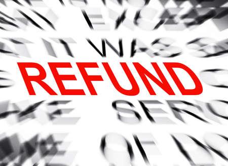 refund: Blured text with focus on REFUND