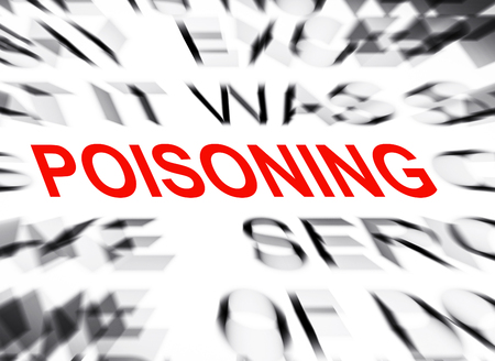 poisoning: Blured text with focus on POISONING Stock Photo