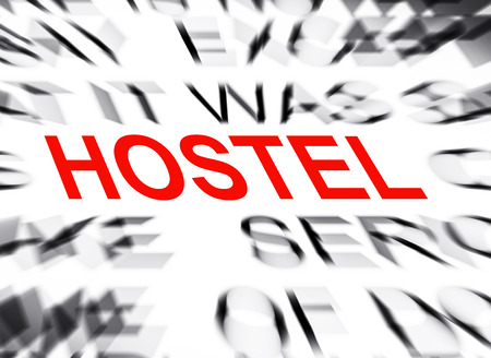 hostel: Blured text with focus on HOSTEL