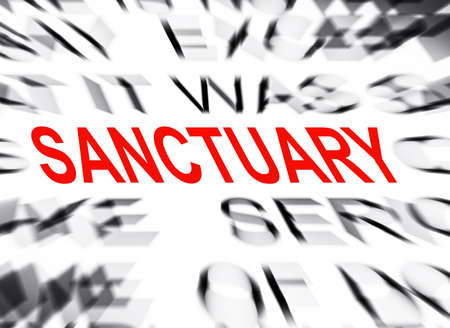 sanctuary: Blured text with focus on SANCTUARY Stock Photo
