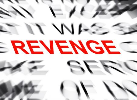 venganza: Texto Blured con el foco en VENGANZA Foto de archivo
