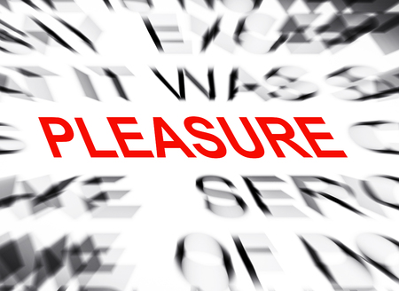 data dictionary: Blured text with focus on PLEASURE Stock Photo