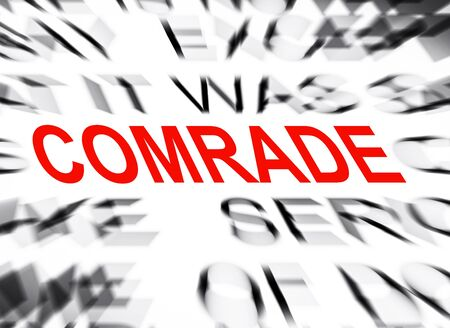 comrade: Blured text with focus on COMRADE Stock Photo