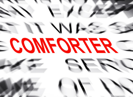 comforter: Blured text with focus on COMFORTER