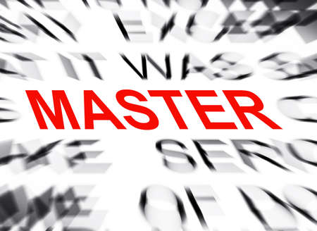 master page: Blured text with focus on MASTER Stock Photo