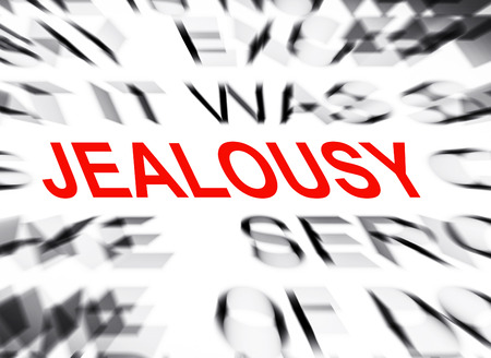 definition define: Blured text with focus on JEALOUSY Stock Photo
