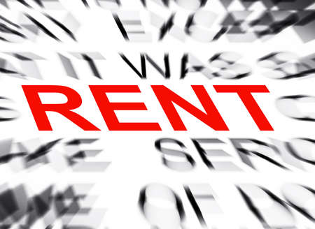 rent: Blured text with focus on RENT