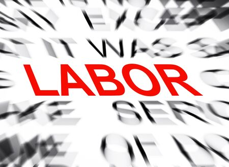 data dictionary: Blured text with focus on LABOR Stock Photo