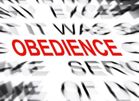 obediencia: borroneada texto con el foco en la obediencia Foto de archivo