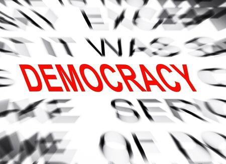 democracy: Blured text with focus on DEMOCRACY Stock Photo