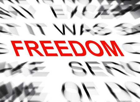 data dictionary: Blured text with focus on FREEDOM Stock Photo