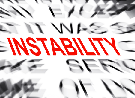 blured text with focus on instability stock photo picture and