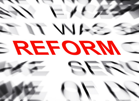 reform: Blured text with focus on REFORM Stock Photo