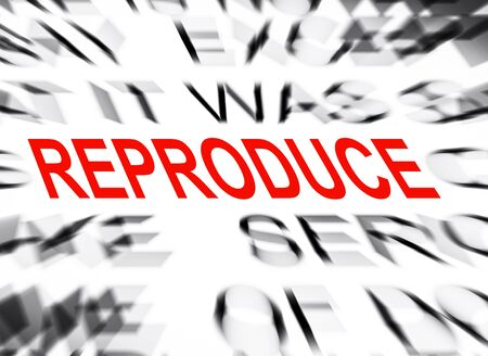 reproduce: Blured text with focus on REPRODUCE