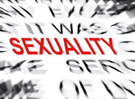 sexualidad: Texto Blured con el foco en SEXUALIDAD Foto de archivo