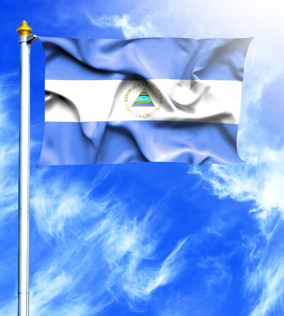 hanged: Blue sky and mast with hanged waving flag of Nicaragua Stock Photo