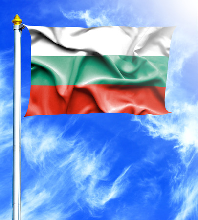 hanged: Blue sky and mast with hanged waving flag of Bulgaria Stock Photo