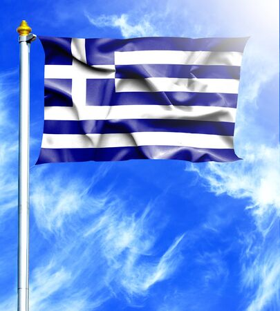 mast: Blue sky and mast with hanged waving flag of Greece Stock Photo