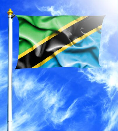 mast: Blue sky and mast with hanged waving flag of Tanzania