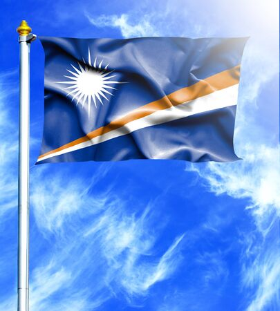 hanged: Blue sky and mast with hanged waving flag of Marshall Islands
