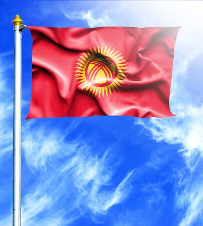 mast: Blue sky and mast with hanged waving flag of Kyrgyzstan