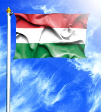 mast: Blue sky and mast with hanged waving flag of Hungary
