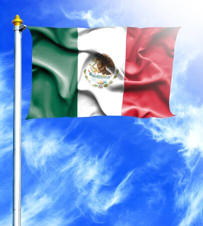 hanged: Blue sky and mast with hanged waving flag of Mexico Stock Photo