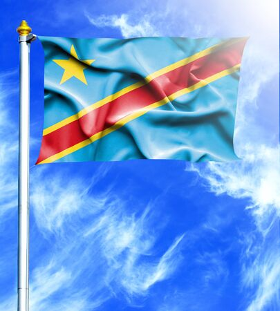 hanged: Blue sky and mast with hanged waving flag of Congo Democratic Republic