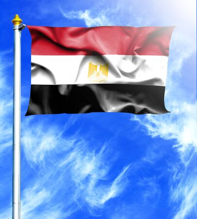 mast: Blue sky and mast with hanged waving flag of Egypt