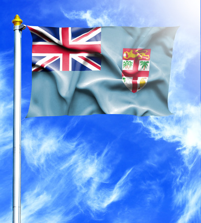 mast: Blue sky and mast with hanged waving flag of Fiji
