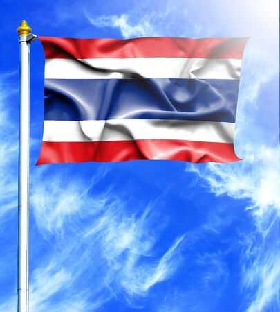 thai silk: Blue sky and mast with hanged waving flag of Thailand