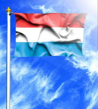 mast: Blue sky and mast with hanged waving flag of Luxembourg