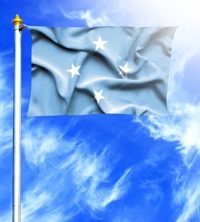 hanged: Blue sky and mast with hanged waving flag of Micronesia