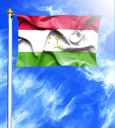 mast: Blue sky and mast with hanged waving flag of Tajikistan Stock Photo