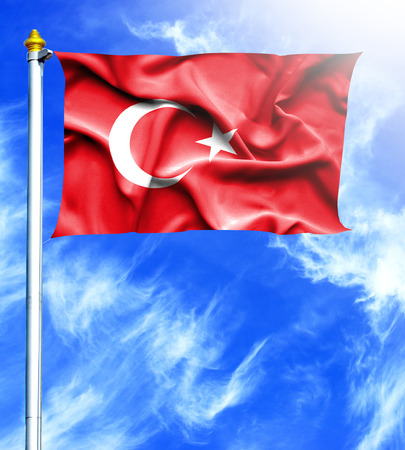 hanged: Blue sky and mast with hanged waving flag of Turkey